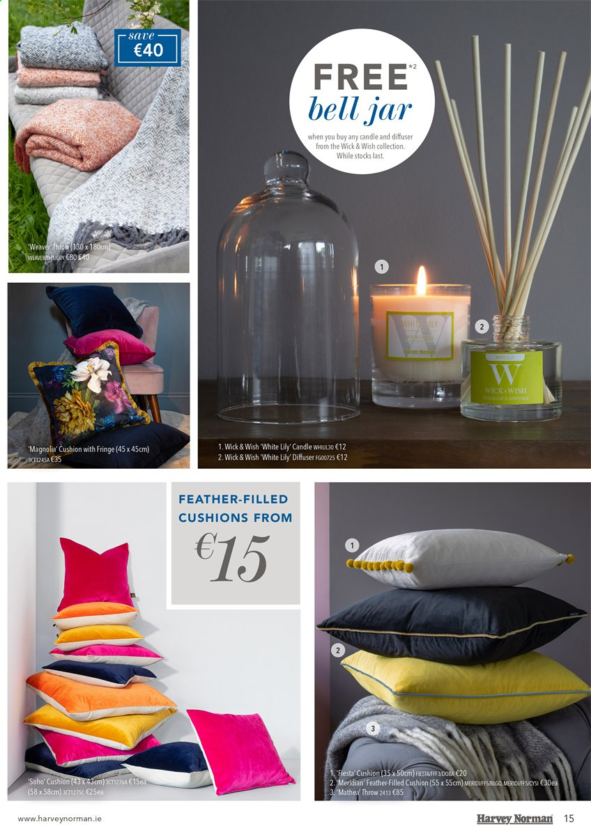Harvey Norman offer  - 8.8.2019 - 16.9.2019 - Sales products - candle, cushion, diffuser, throw, jar. Page 15.