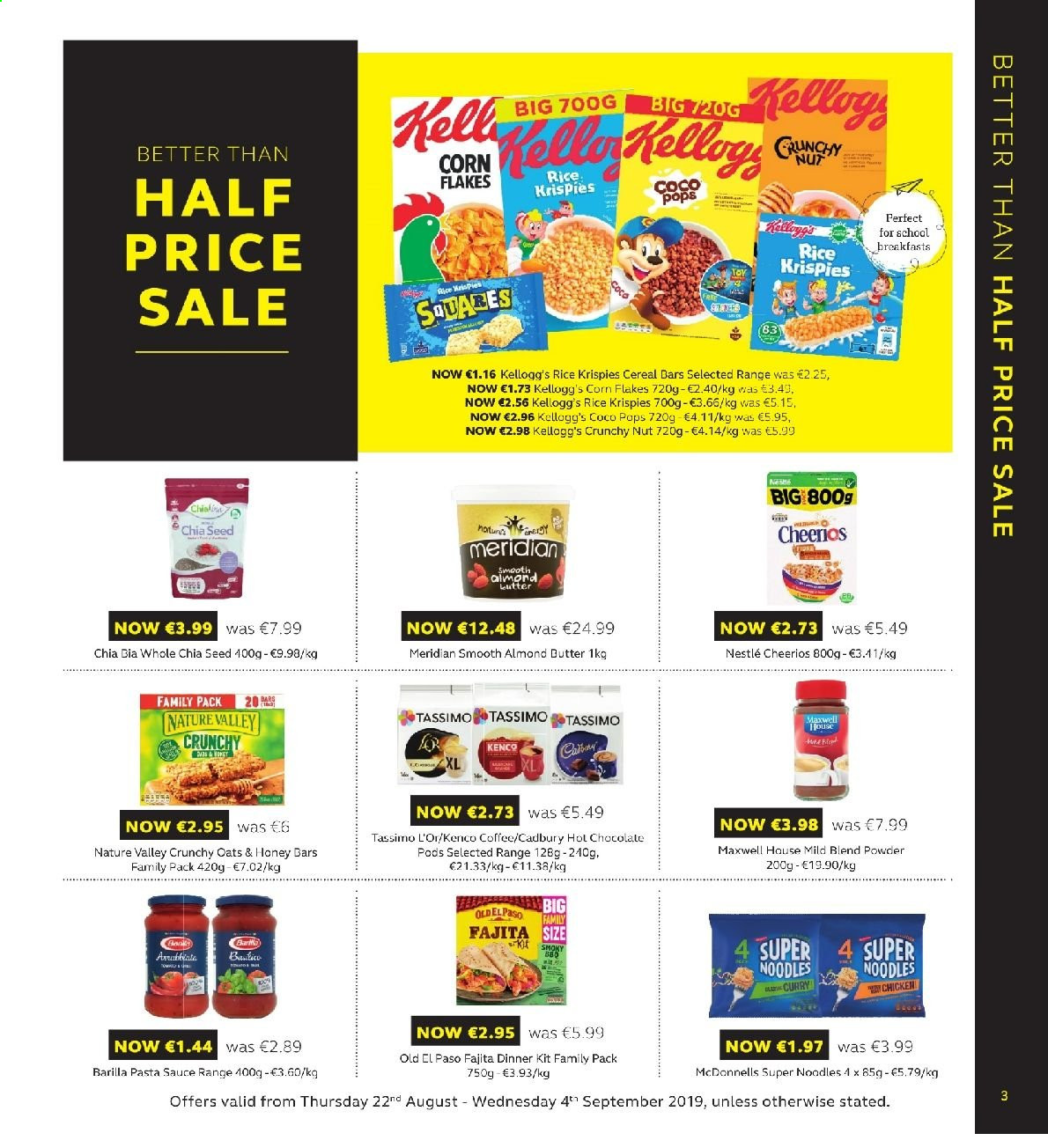 SuperValu offer  - 22.8.2019 - 4.9.2019 - Sales products - Old El Paso, sauce, dinner kit, Barilla, fajita, almond butter, Nestlé, chocolate, cereal bar, Kellogg's, Cadbury, oats, cereals, Cheerios, corn flakes, coco pops, Rice Krispies, Nature Valley, noodles, pasta sauce, almonds, coffee, L'Or, chicken. Page 3.