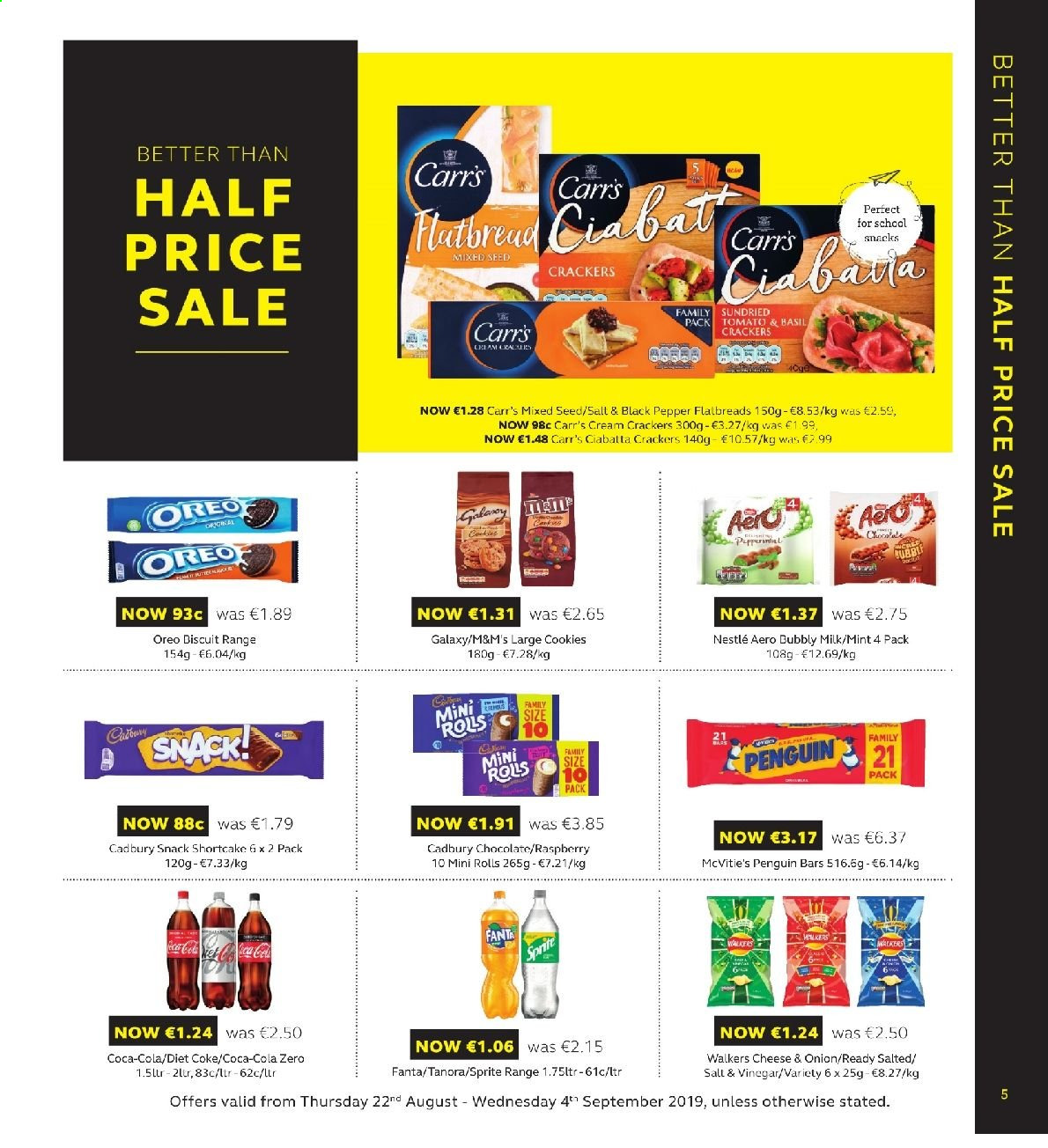 SuperValu offer  - 22.8.2019 - 4.9.2019 - Sales products - ciabatta, rolls, Oreo, milk, cookies, Nestlé, chocolate, M&M's, crackers, Cadbury, snack, black pepper, vinegar, Coca-Cola, Sprite, Fanta, Diet Coke, Coca-Cola zero, Samsung Galaxy. Page 5.