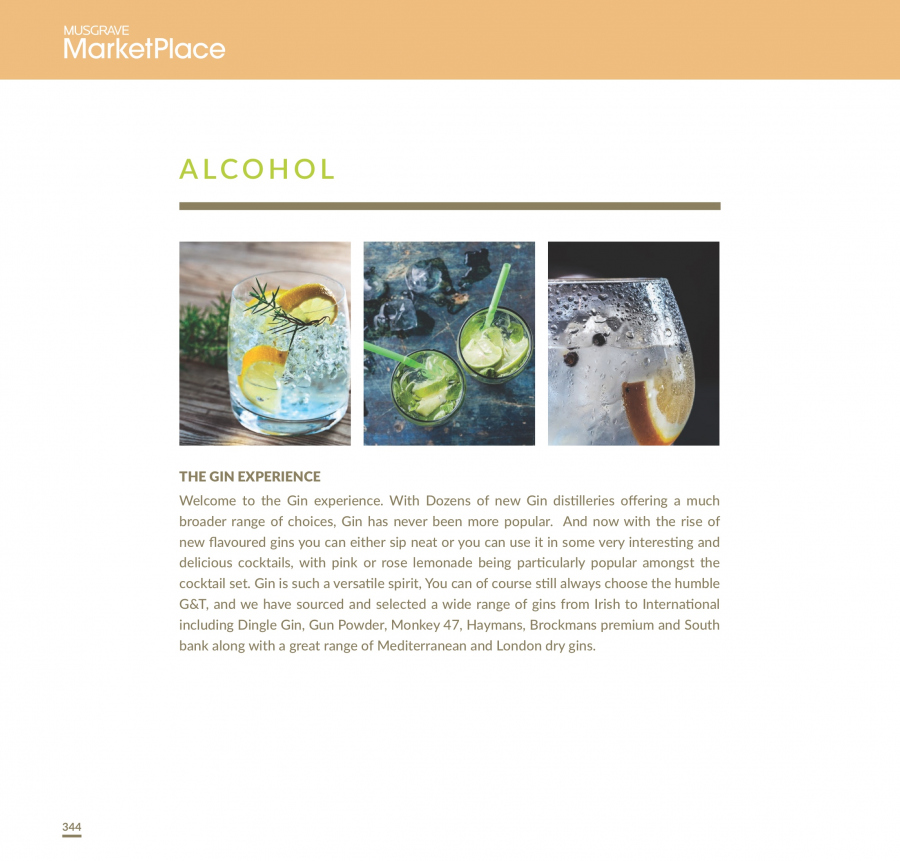 MUSGRAVE Market Place offer  - 1.1.2018 - 31.12.2018 - Sales products - lemonade, gin. Page 344.