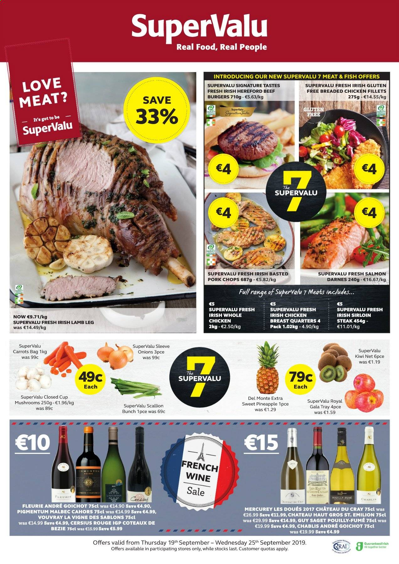 SuperValu offer  - 19.9.2019 - 25.9.2019 - Sales products - mushroom, carrots, onion, Gala apple, kiwi, pineapple, salmon, fish, hamburger, fried chicken, wine, chicken, chicken breasts, steak, pork chops, lamb meat, lamb leg. Page 1.