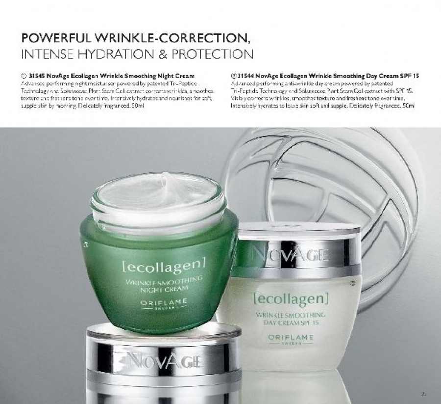 Oriflame offer  - 21.1.2018 - 31.12.2018 - Sales products - day cream, night cream, NovAge Ecollagen. Page 23.