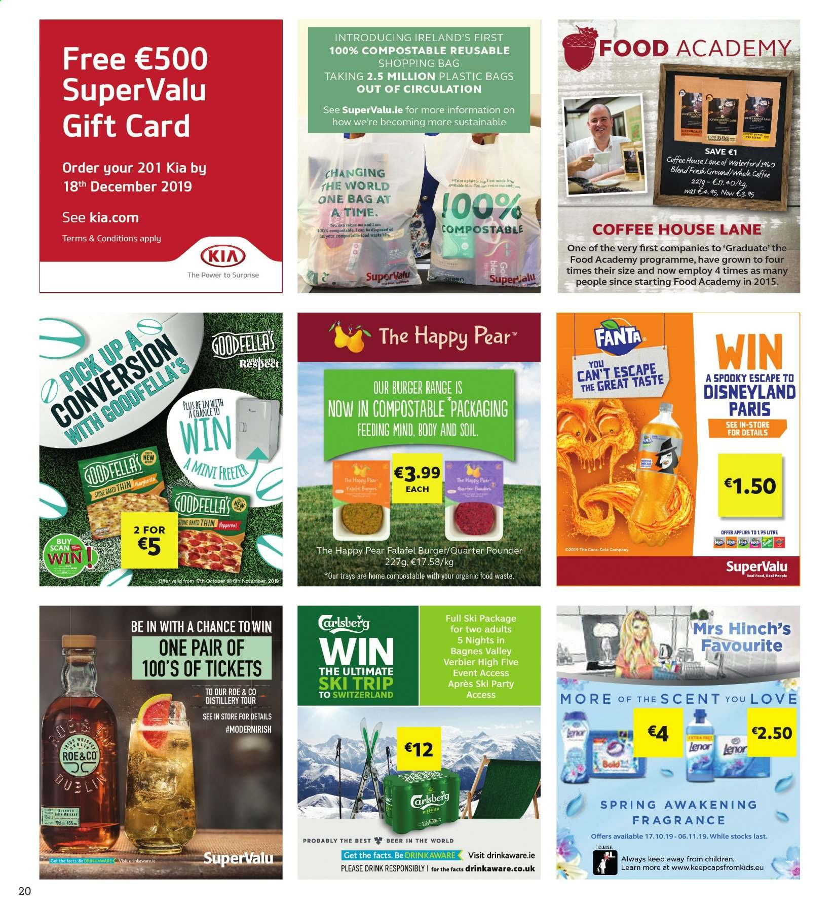 SuperValu offer  - 17.10.2019 - 30.10.2019 - Sales products - pears, hamburger, Coca-Cola, Fanta, coffee, beer, Carlsberg, Bold, Lenor, fragrance, shopping bag. Page 20.
