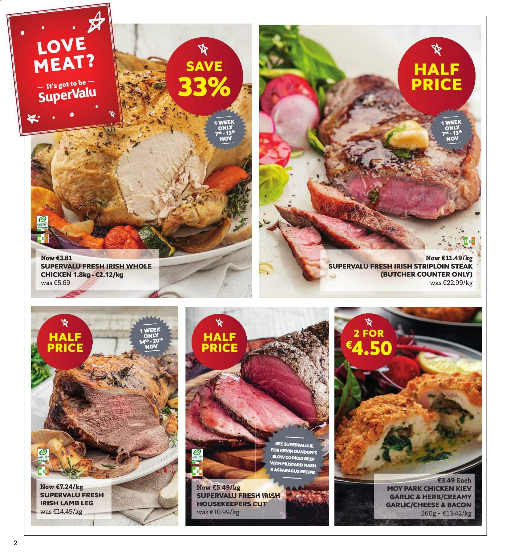 SuperValu offer  - 7.11.2019 - 20.11.2019 - Sales products - asparagus, bacon, mustard, whole chicken, chicken, steak, striploin steak, lamb meat, lamb leg. Page 2.
