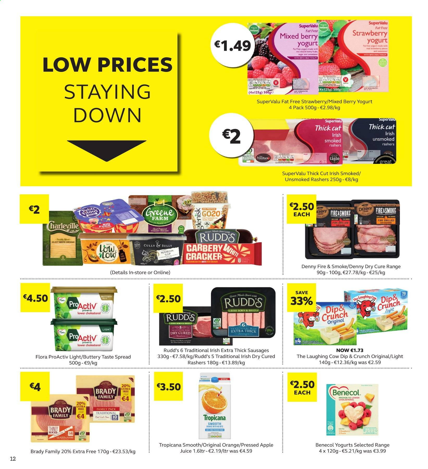 SuperValu offer  - 7.11.2019 - 20.11.2019 - Sales products - mushroom, orange, mushroom soup, soup, rashers, sausage, cheddar, The Laughing Cow, yoghurt, Flora, dip, crackers, apple juice, juice. Page 12.