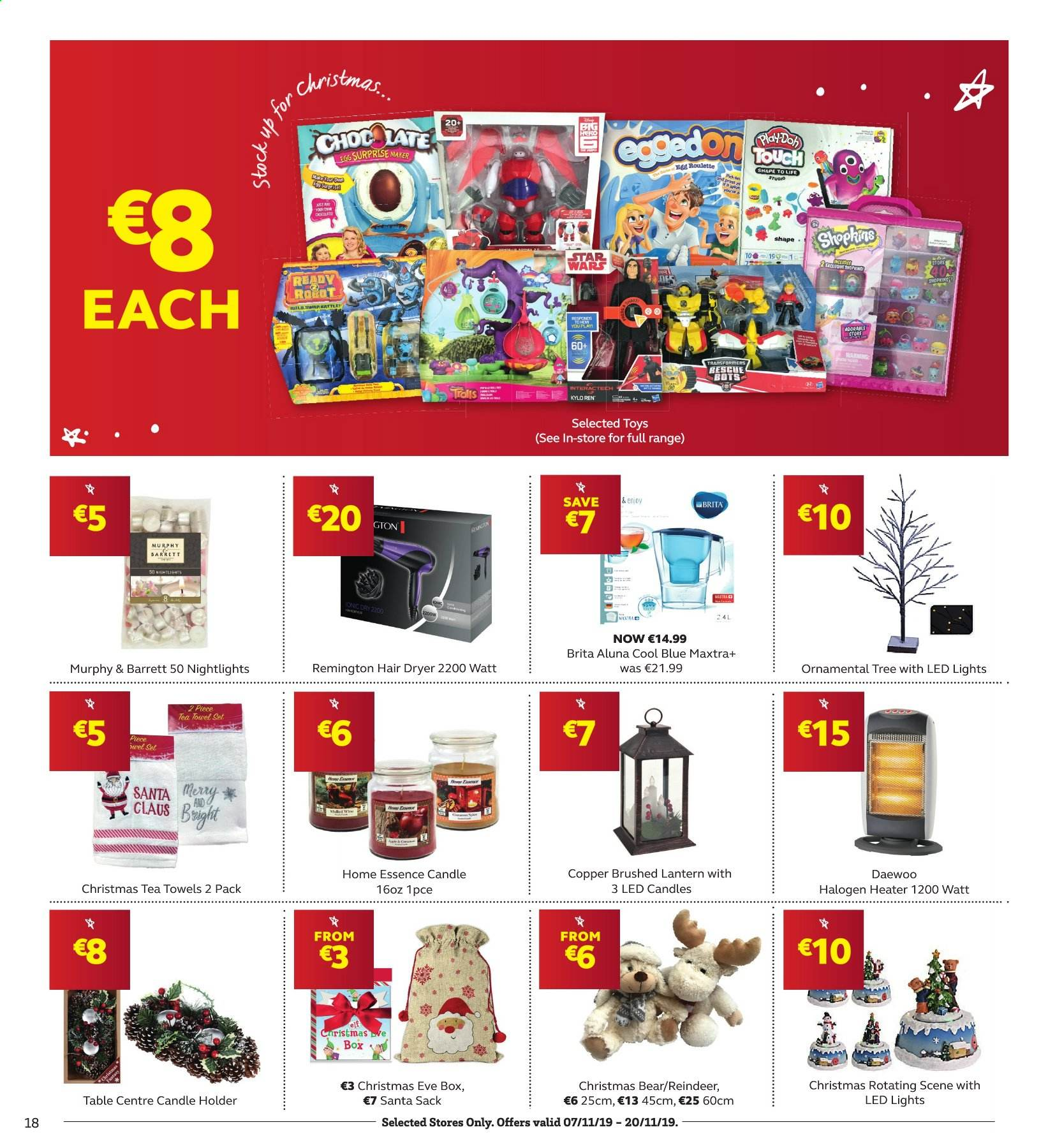 SuperValu offer  - 7.11.2019 - 20.11.2019 - Sales products - eggs, Santa, Daewoo, candle, reindeer. Page 18.