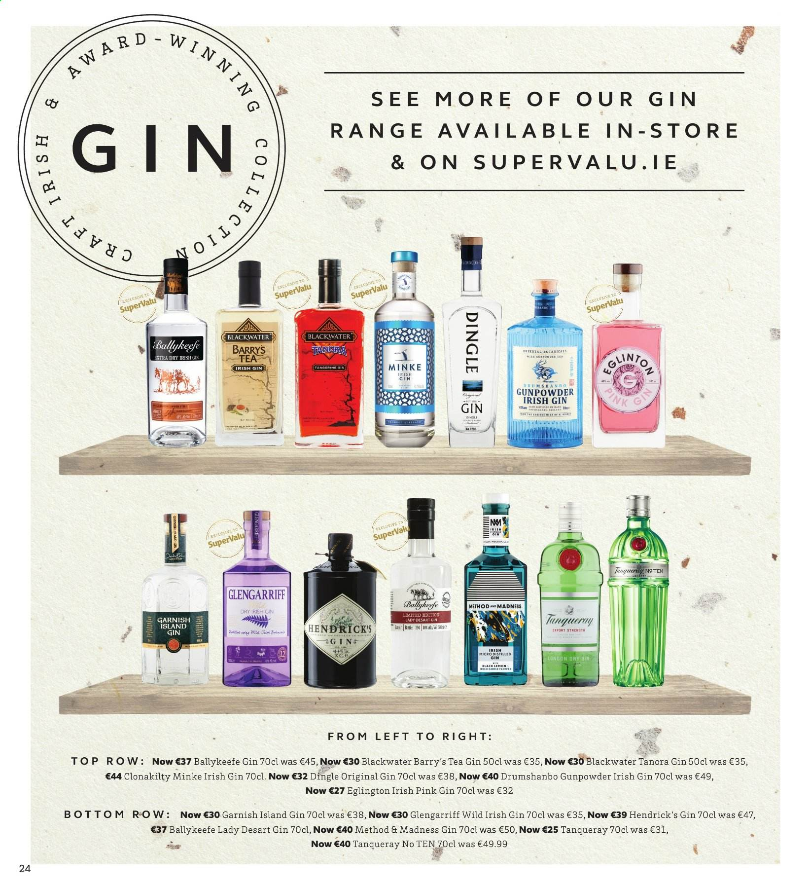 SuperValu offer  - 28.11.2019 - 11.12.2019 - Sales products - tea, gin, Hendrick's. Page 24.