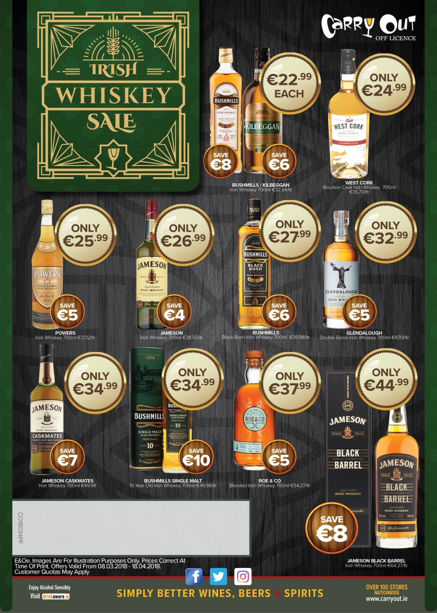 Carry Out offer  - 8.3.2018 - 18.4.2018 - Sales products - wine, alcohol, bourbon, whiskey, Jameson. Page 2.