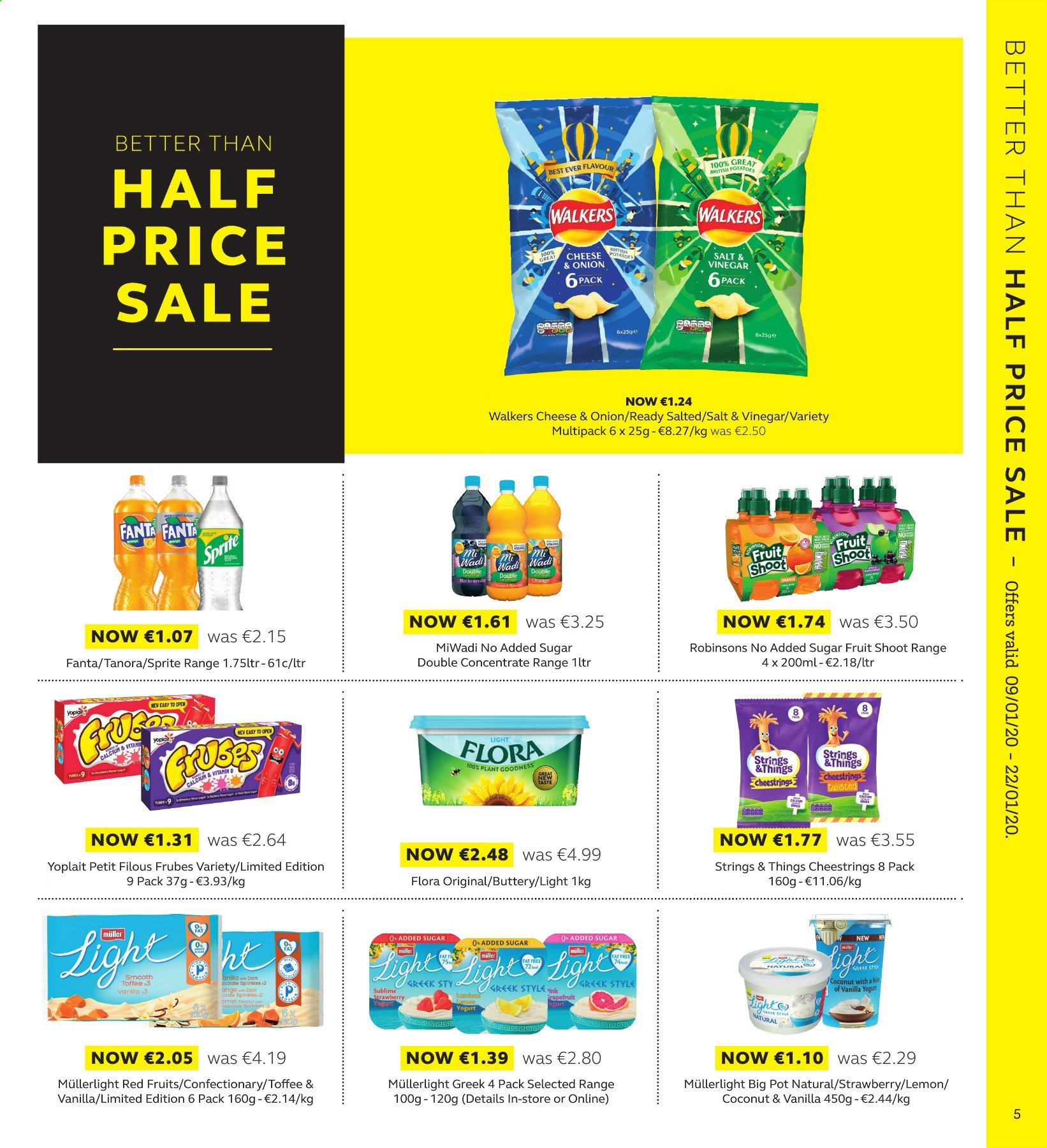 SuperValu offer  - 9.1.2020 - 22.1.2020 - Sales products - coconut, orange, string cheese, yoghurt, Müller, Frubes Variety, Petits Filous, Yoplait, Flora, toffee, vinegar, Sprite, Fanta. Page 5.