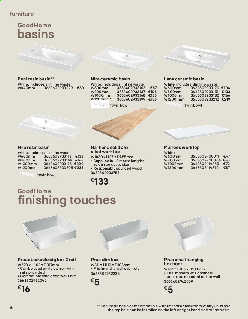B&Q offer  - Sales products - Bathroom, box, Furniture, solid, vanity, hook. Page 6.