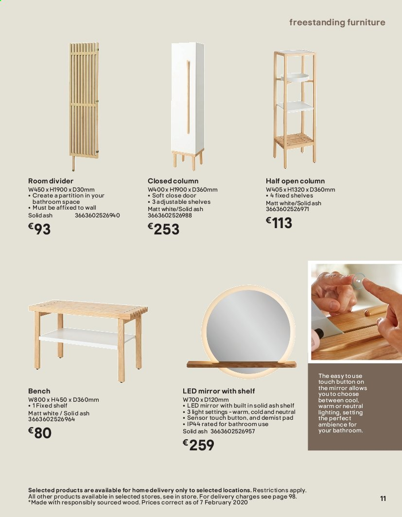 B&Q offer  - Sales products - Bathroom, Bench, door, Furniture, mirror, mirror with shelf, shelves, solid, pad. Page 11.