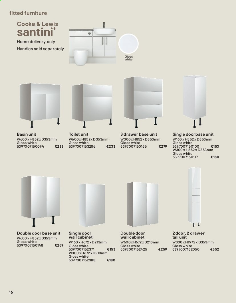 B&Q offer  - Sales products - cabinet, door, drawer, Furniture, toilet, wall cabinet, handles. Page 16.