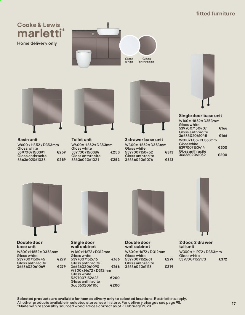 B&Q offer  - Sales products - Bathroom, cabinet, door, drawer, Furniture, toilet, wall cabinet. Page 17.