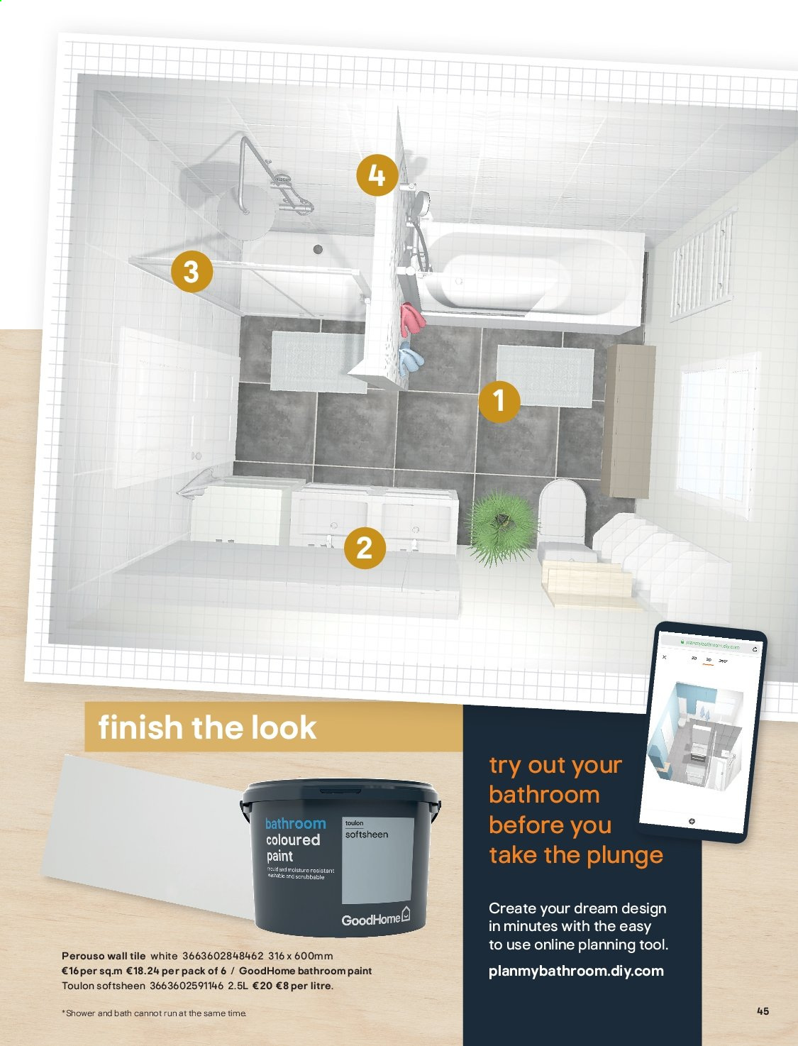 B&Q offer  - Sales products - bath, Bathroom, moisture. Page 45.