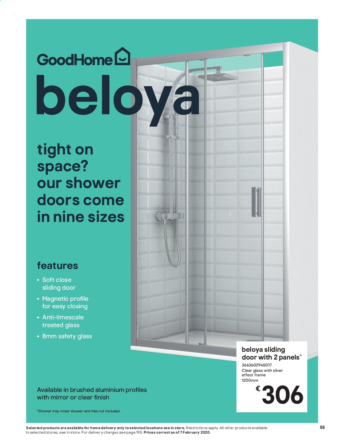 B&Q offer  - Sales products - door, glass, mirror, mixer, tray. Page 55.