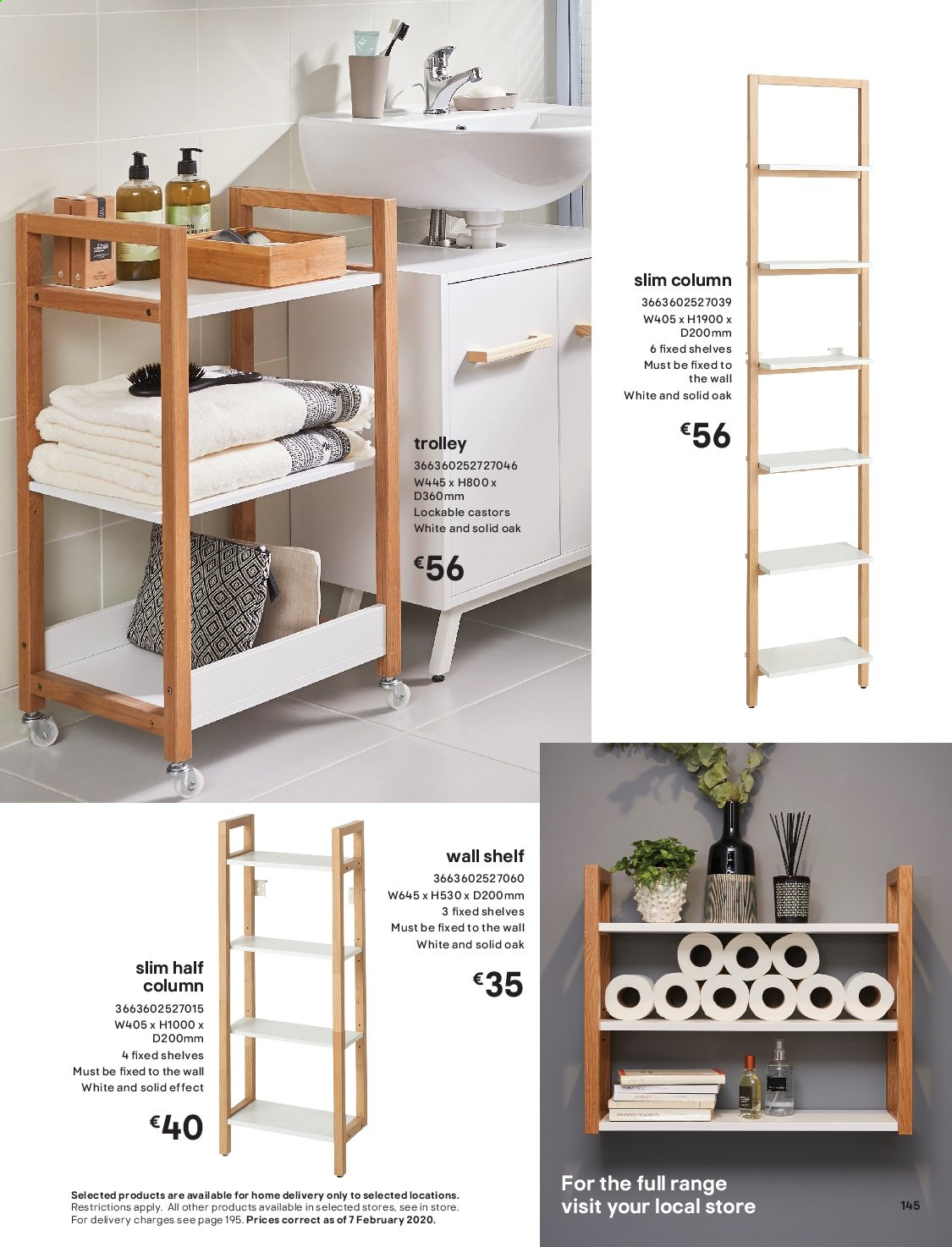 B&Q offer  - Sales products - shelves, solid, wall shelf, trolley. Page 145.