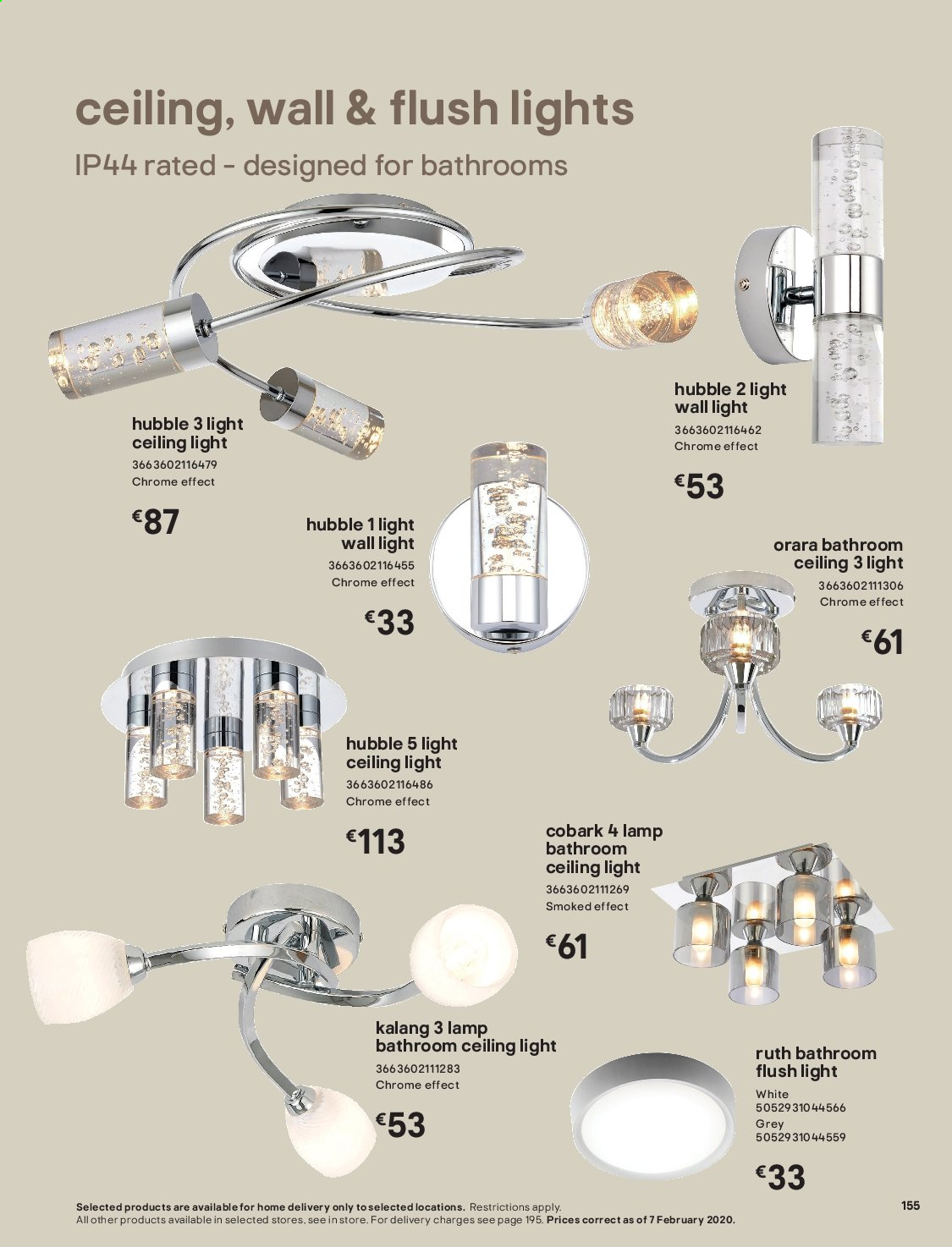 B&Q offer  - Sales products - Bathroom, lamp. Page 155.