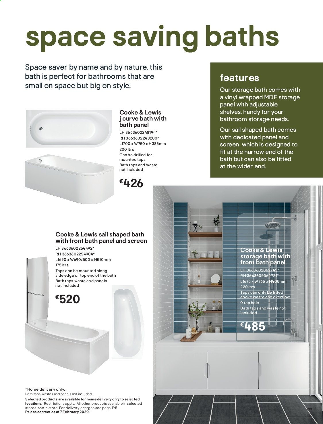 B&Q offer  - Sales products - bath, Bathroom, shelf, shelves. Page 177.