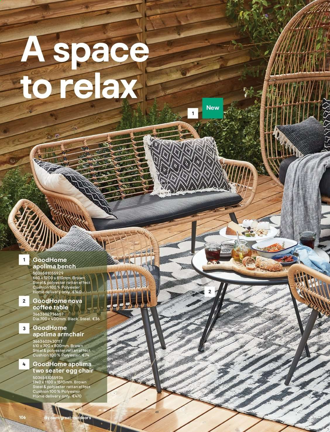 B&Q offer  - Sales products - arm chair, Bench, coffee table, cushion, table, chair. Page 106.