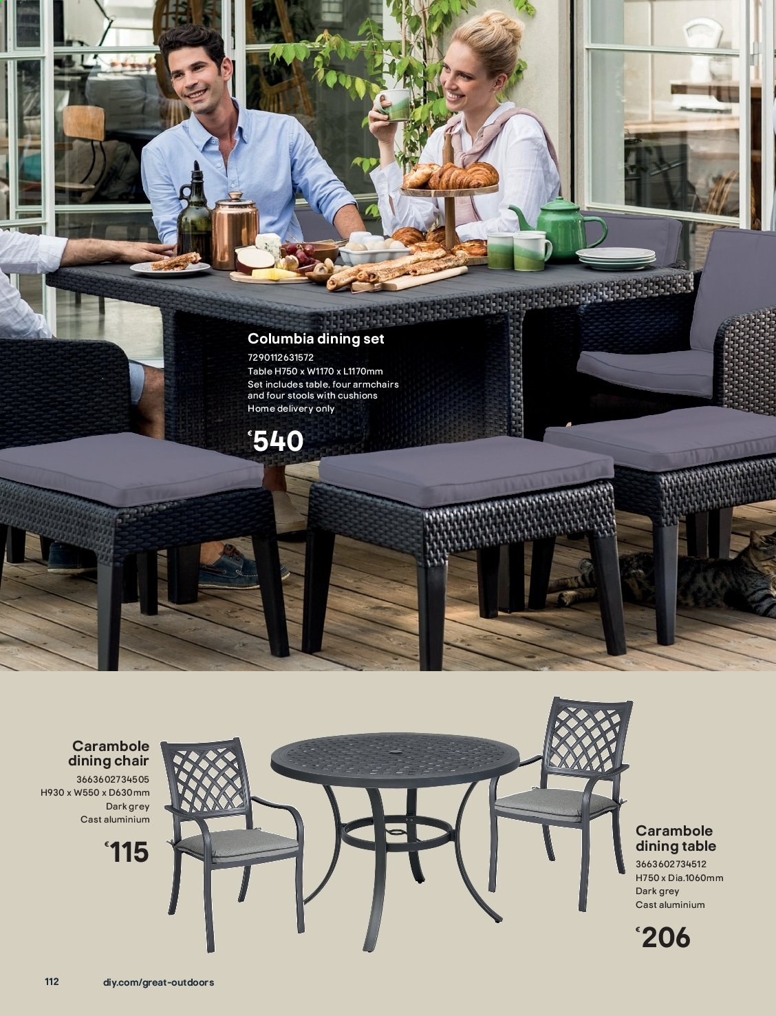 B&Q offer  - Sales products - dining set, dining table, columbia, table, chair. Page 112.