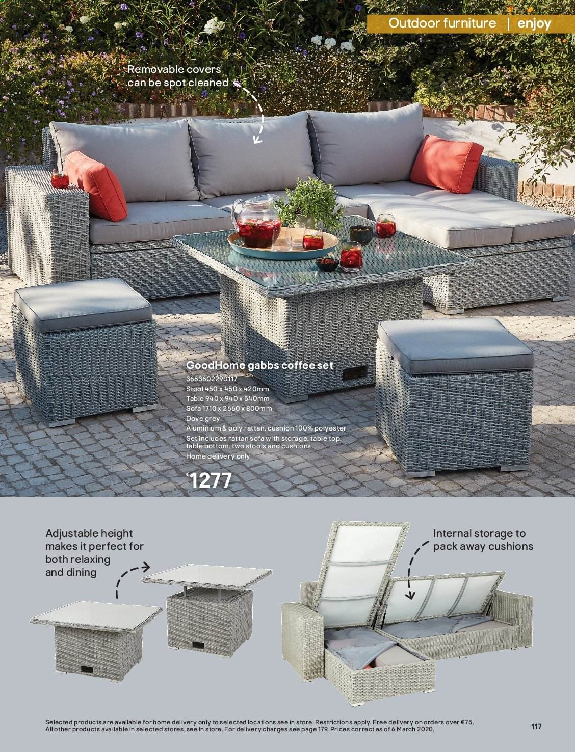 B&Q offer  - Sales products - coffee, cushion, Dove, Furniture, sofa, stool, table, outdoor furniture. Page 117.