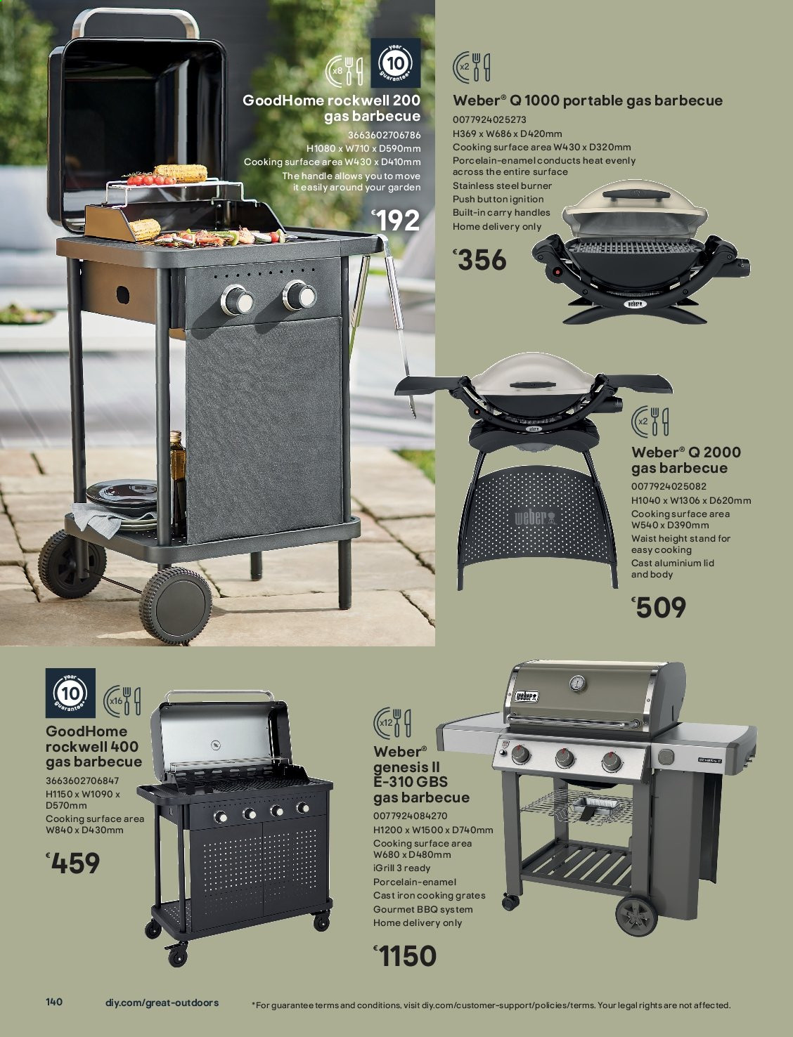 B&Q offer  - Sales products - lid, surface, weber, handles, iron. Page 140.