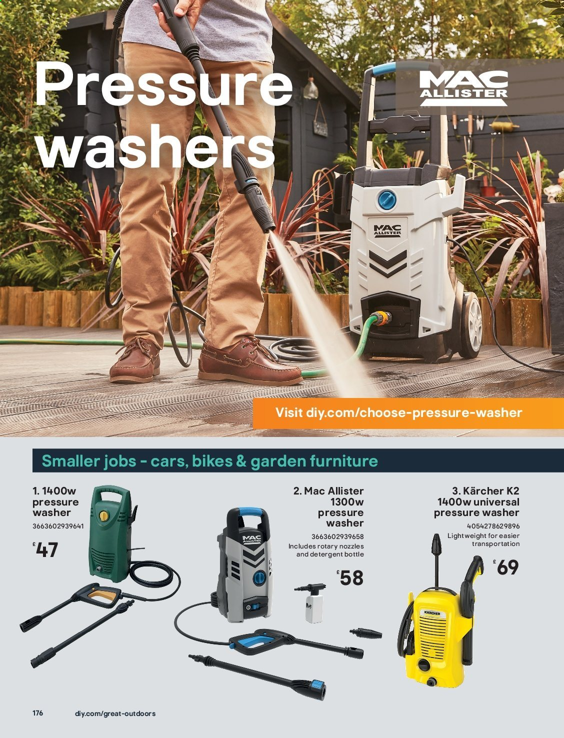 B&Q offer  - Sales products - bike, detergent, Furniture. Page 176.