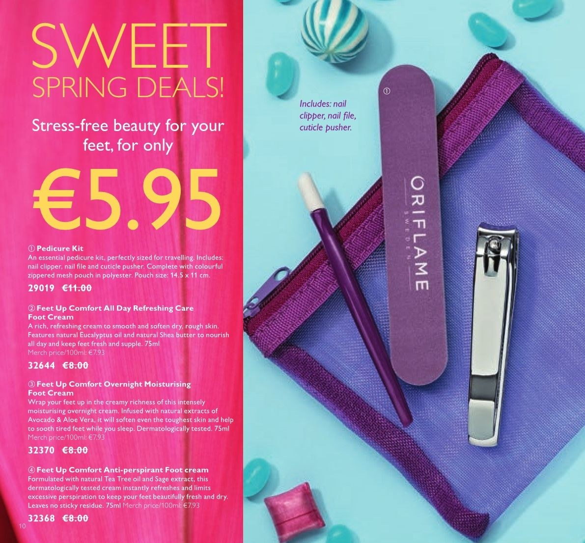 Oriflame offer  - 23.3.2018 - 12.4.2018 - Sales products - shea butter, oil, anti-perspirant, pedicure tool, cuticle pusher, tea tree oil, wrap, feet up. Page 10.