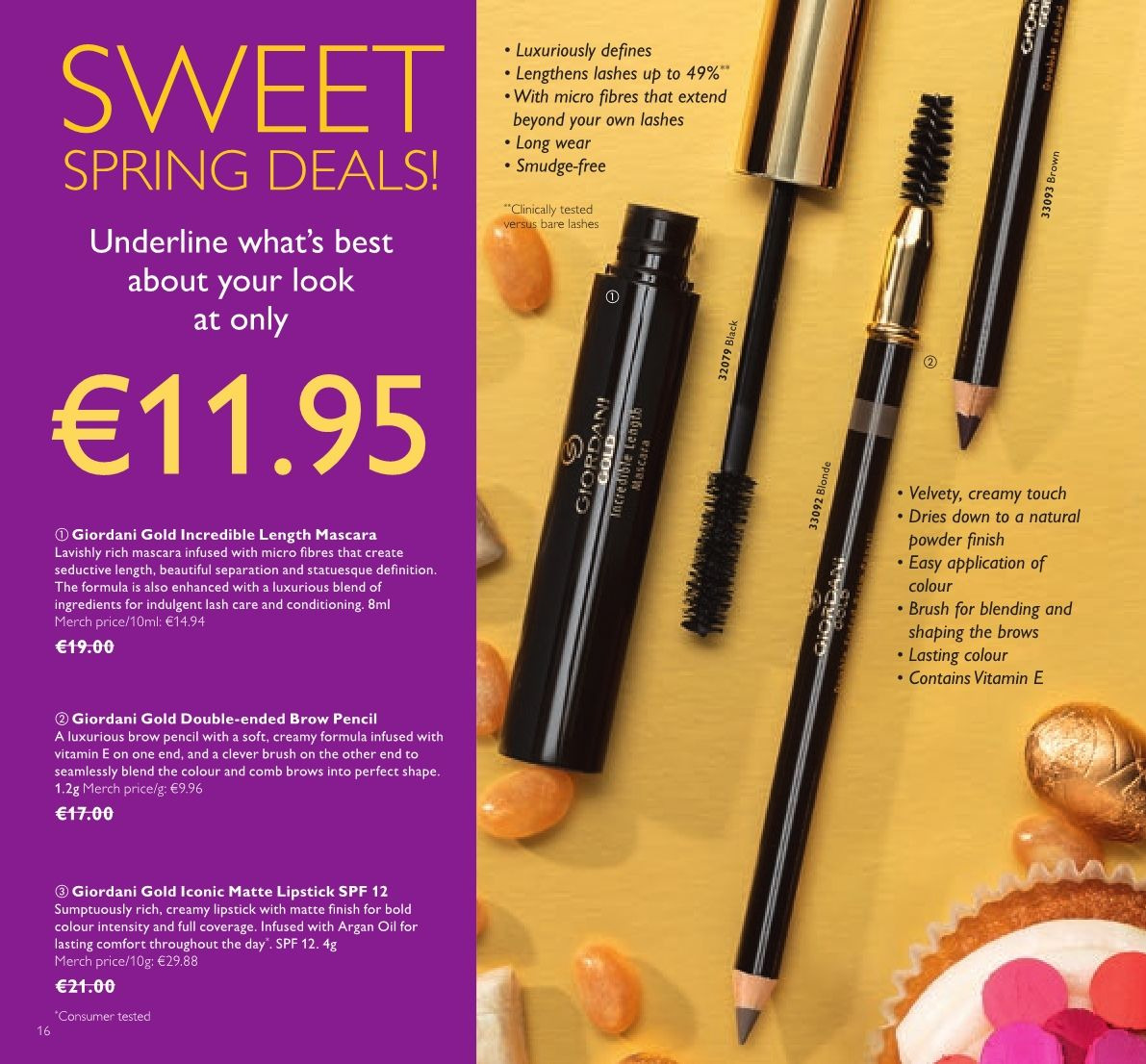 Oriflame offer  - 23.3.2018 - 12.4.2018 - Sales products - comb, Giordani Gold, mascara. Page 16.