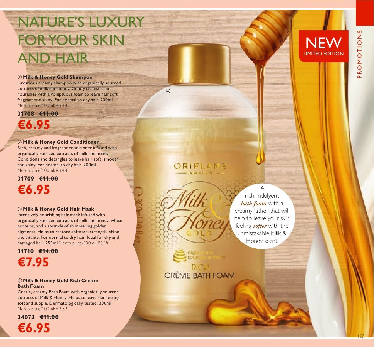 Oriflame offer  - 23.3.2018 - 12.4.2018 - Sales products - shampoo, bath foam, conditioner, hair mask. Page 127.