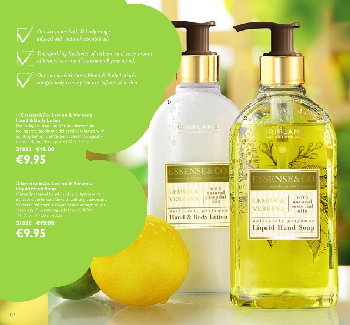 Oriflame offer  - 23.3.2018 - 12.4.2018 - Sales products - hand soap, soap, body lotion, essential oils. Page 128.
