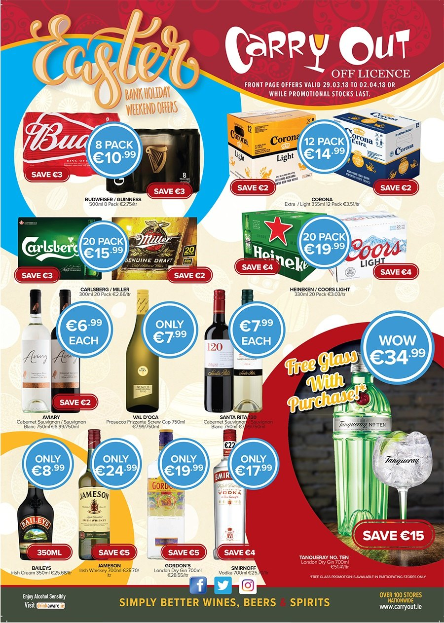 Carry Out offer  - 29.3.2018 - 2.4.2018 - Sales products - budweiser, cap, cream, gin, glass, santa, smirnoff, vodka, whiskey, jameson, prosecco, baileys. Page 1.