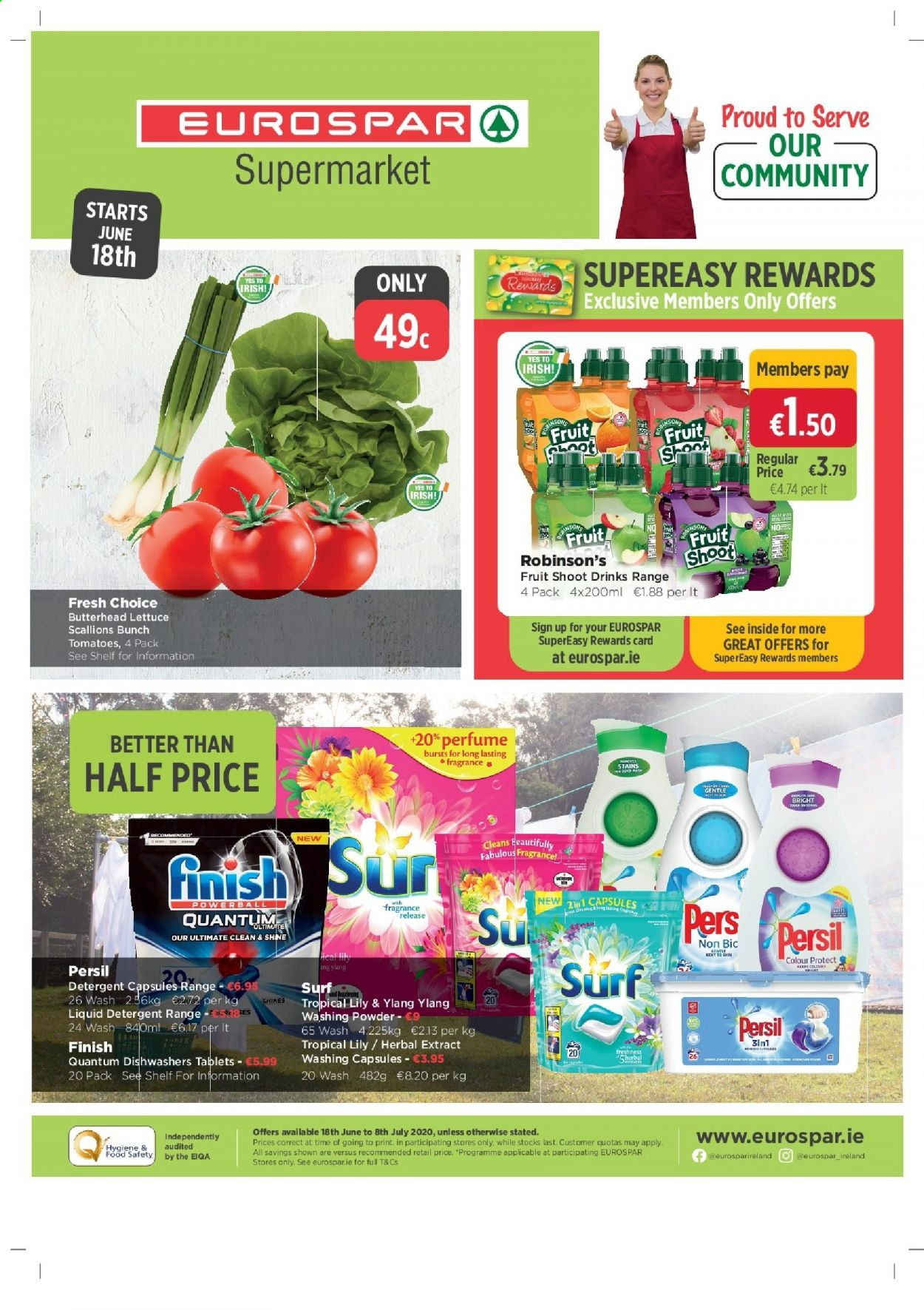 EUROSPAR offer  - 18.6.2020 - 8.7.2020 - Sales products - bic, capsules, detergent, fragrance, scallions, shelf, tomatoes, powder, persil, lettuce, card, washing powder, drink. Page 1.