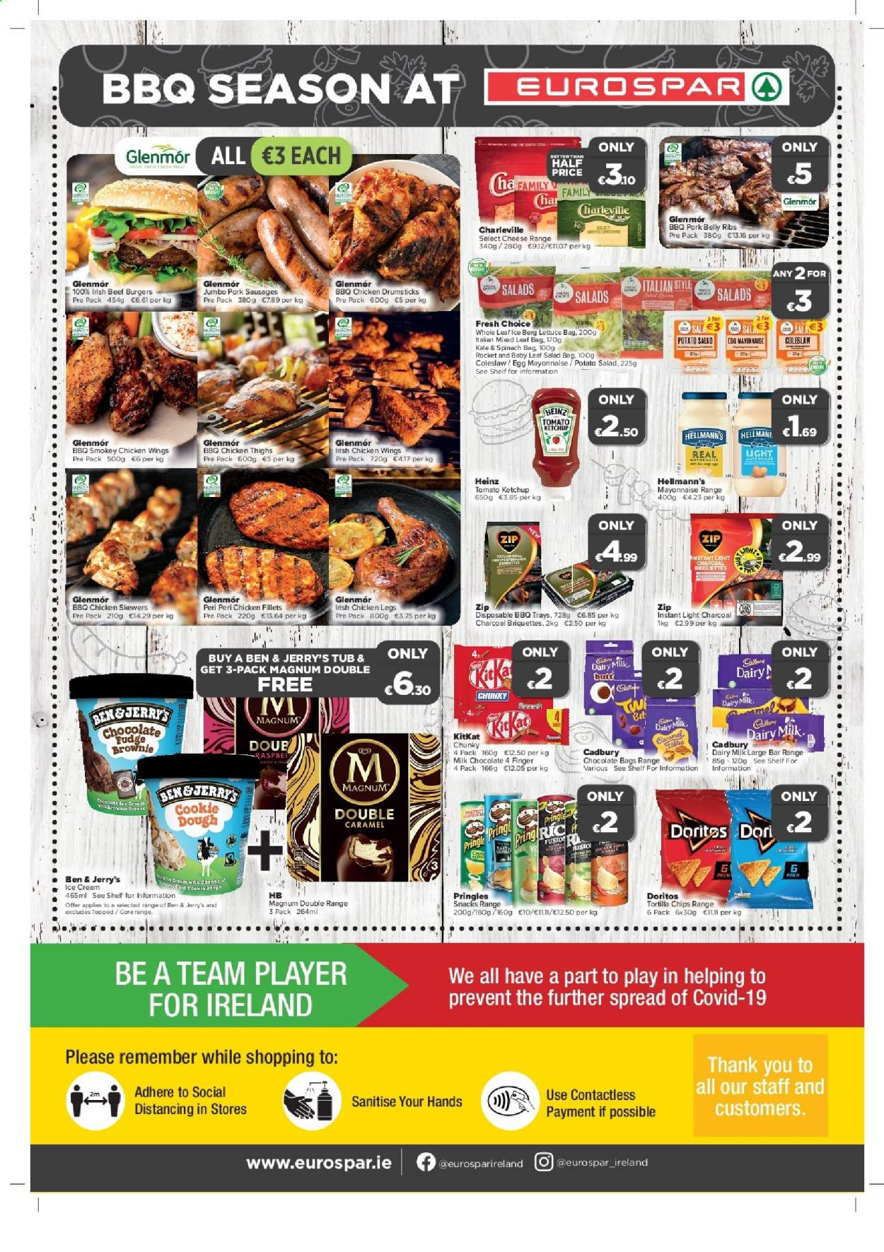 EUROSPAR offer  - 18.6.2020 - 8.7.2020 - Sales products - bag, beef meat, caramel, cookie dough, doritos, coleslaw, fudge, magnum, mayonnaise, milk chocolate, rocket, sausages, shelf, spinach, tortilla chips, heinz, ice cream, kale, ketchup, pork meat, pringles, charcoal, chicken, chicken drumsticks, chicken legs, chicken thighs, chicken wings, chips, chocolate, lettuce, cheese, player, salt, salad, briquettes, bar, ribs. Page 8.