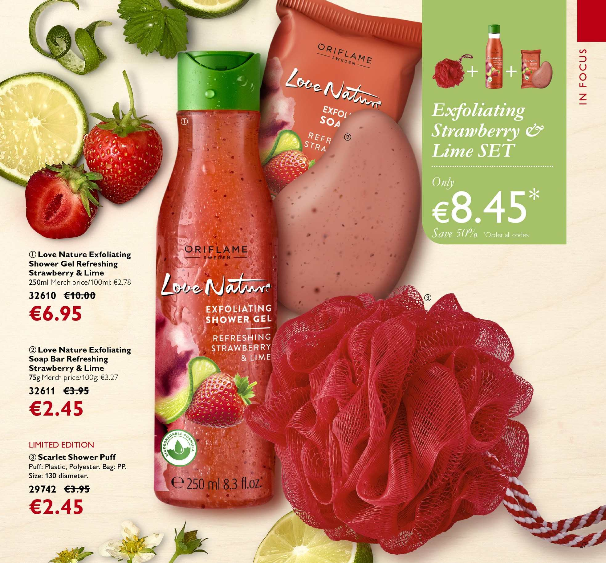 Oriflame offer  - 13.4.2018 - 3.5.2018 - Sales products - shower gel, soap bar, soap, Love Nature. Page 27.
