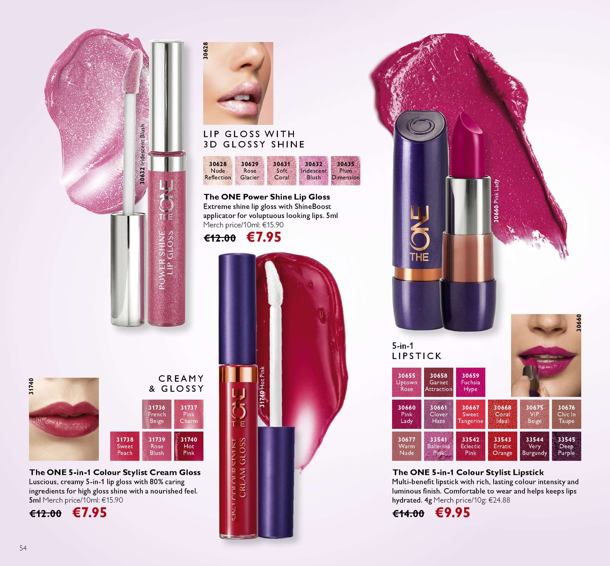 Oriflame offer  - 13.4.2018 - 3.5.2018 - Sales products - lip gloss, charm, Clover. Page 54.