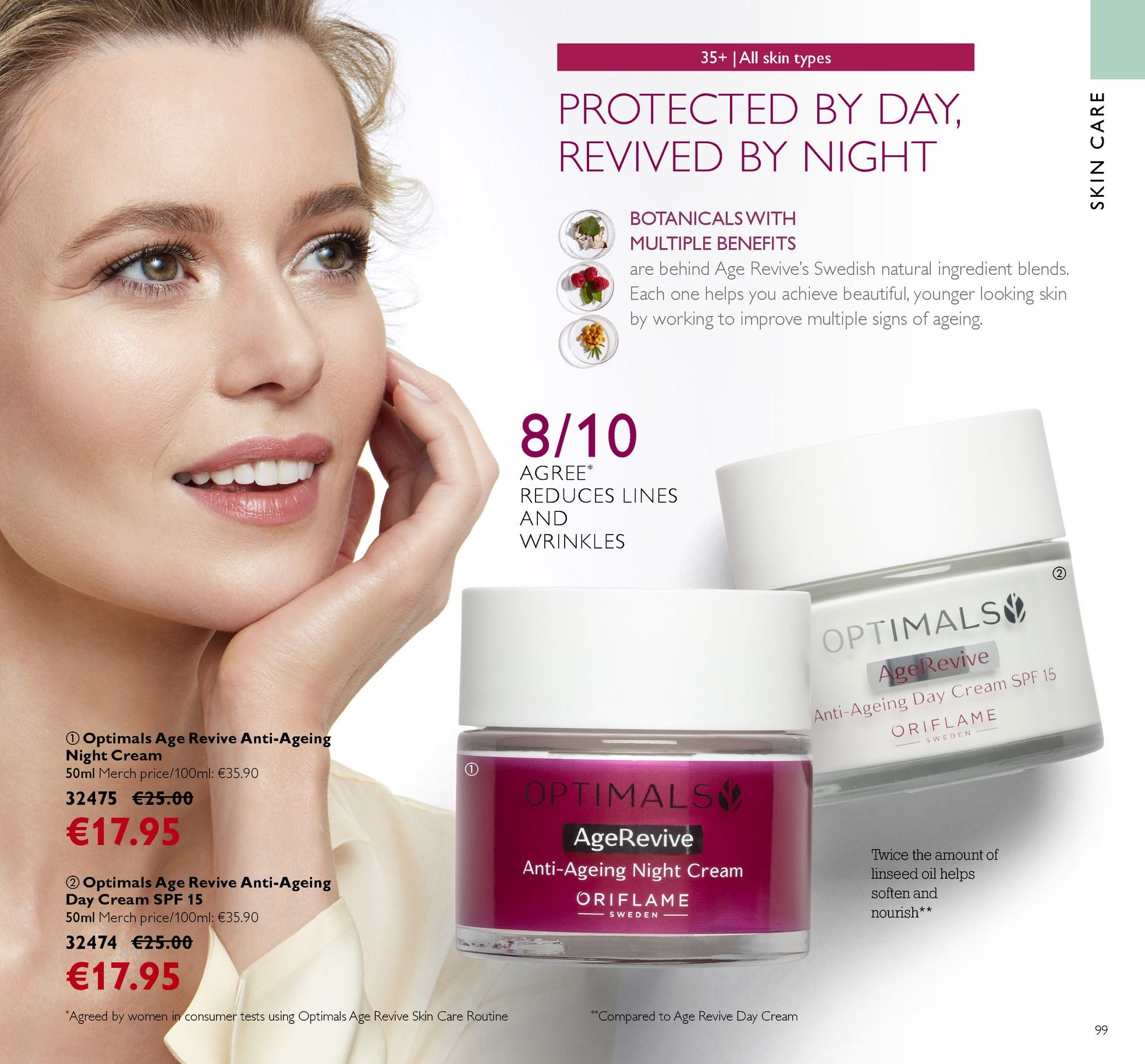 Oriflame offer  - 13.4.2018 - 3.5.2018 - Sales products - day cream, night cream, Optimals, oil. Page 99.