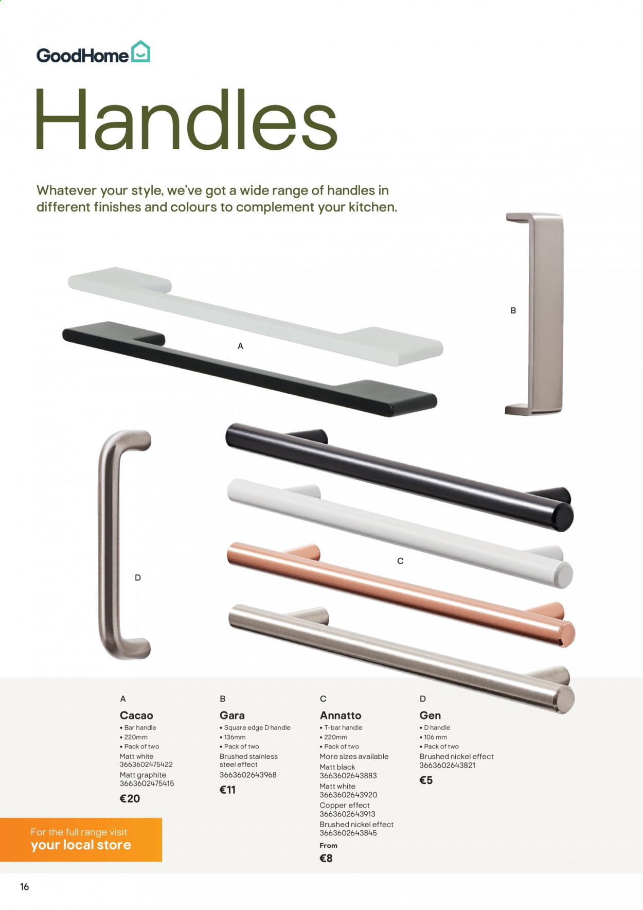 B&Q offer  - Sales products - handles, Kitchen, bar. Page 16.