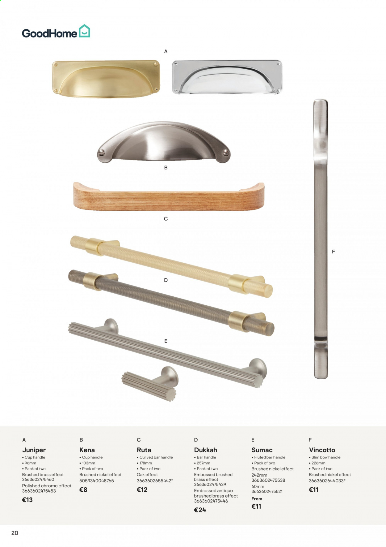 B&Q offer  - Sales products - handles, bow, bar. Page 20.