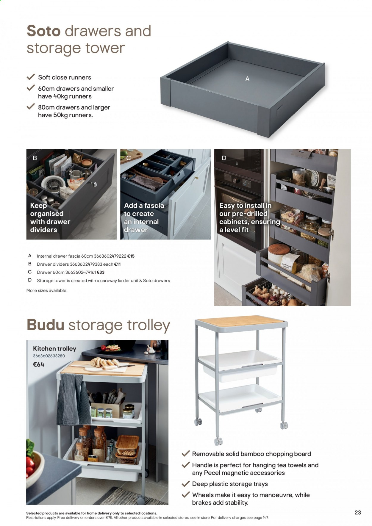 B&Q offer  - Sales products - drawer, solid, tea, towel, handles, Kitchen, chopping board, trolley. Page 23.