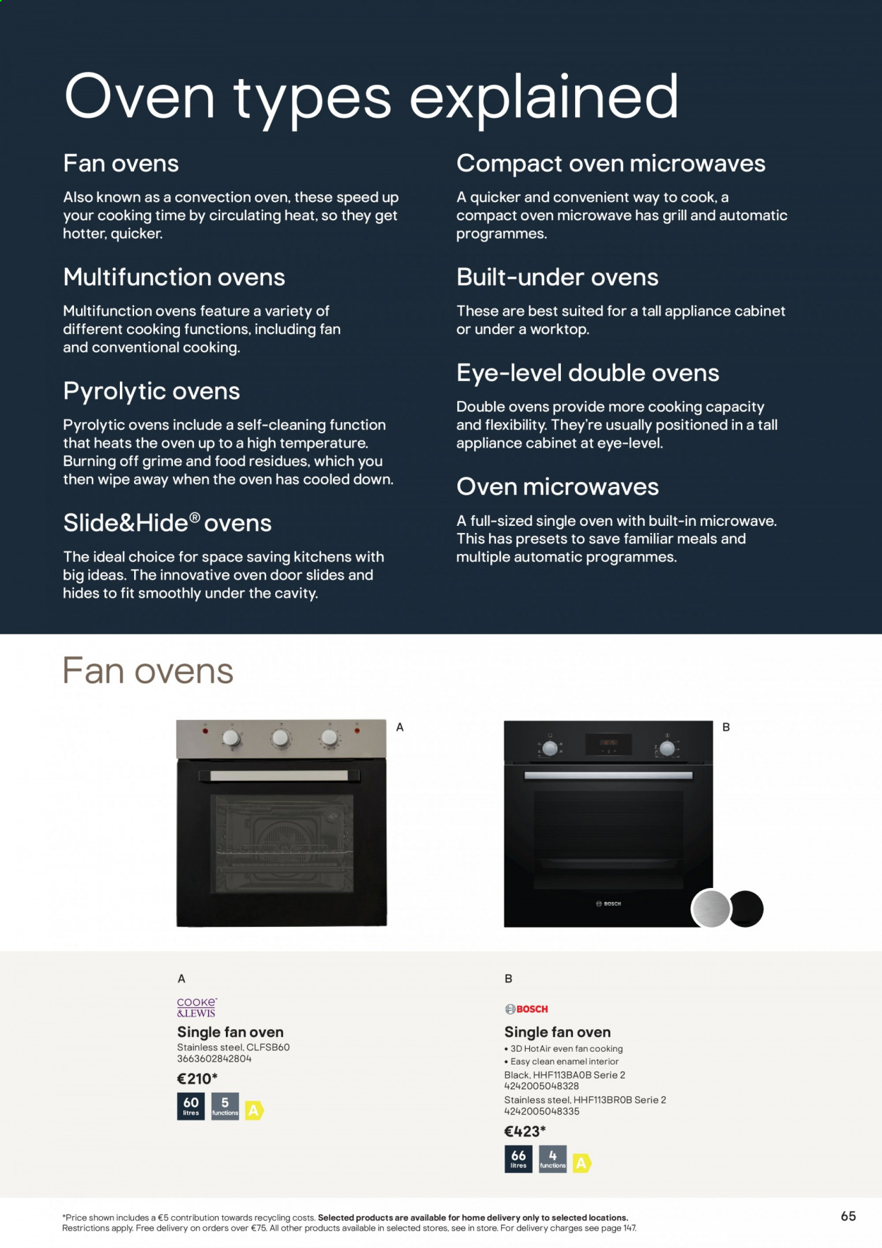 B&Q offer  - Sales products - cabinet, door, grill, slides, oven. Page 65.