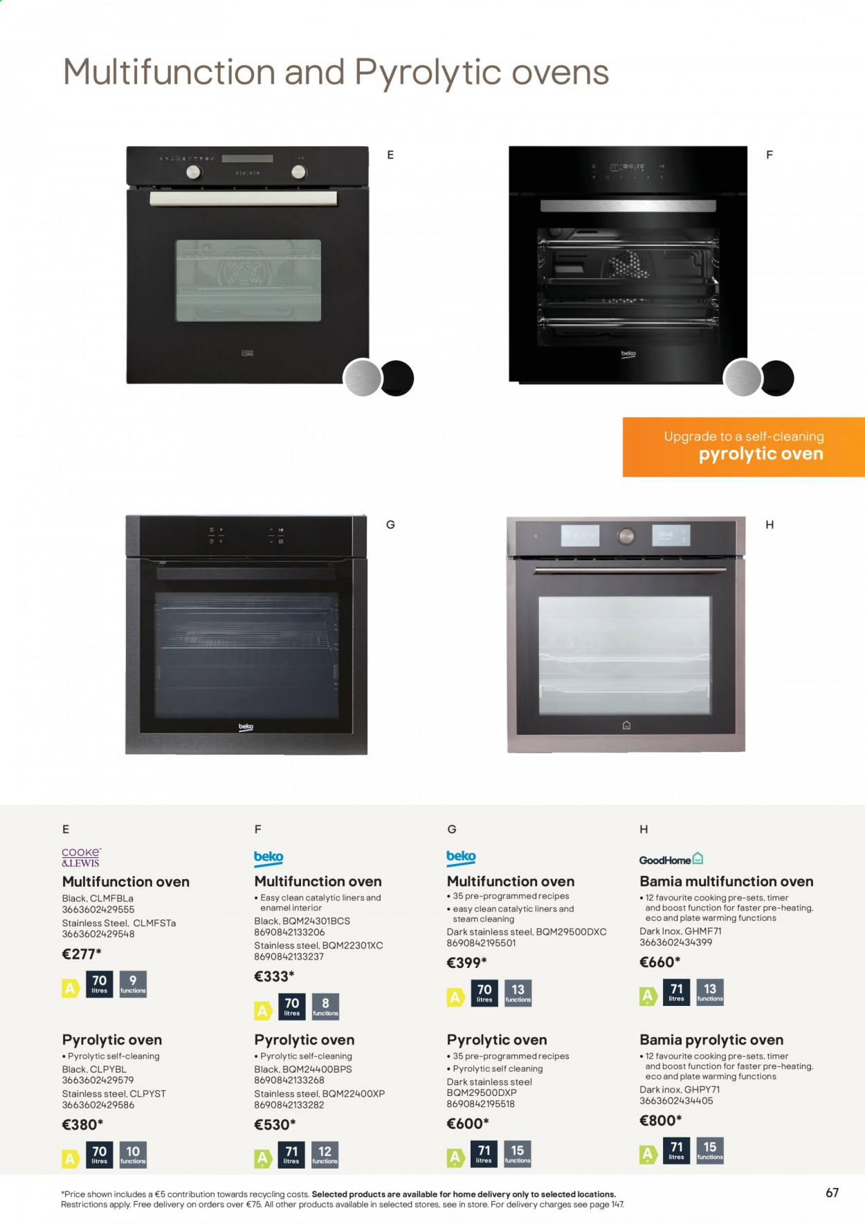 B&Q offer  - Sales products - plate, oven. Page 67.