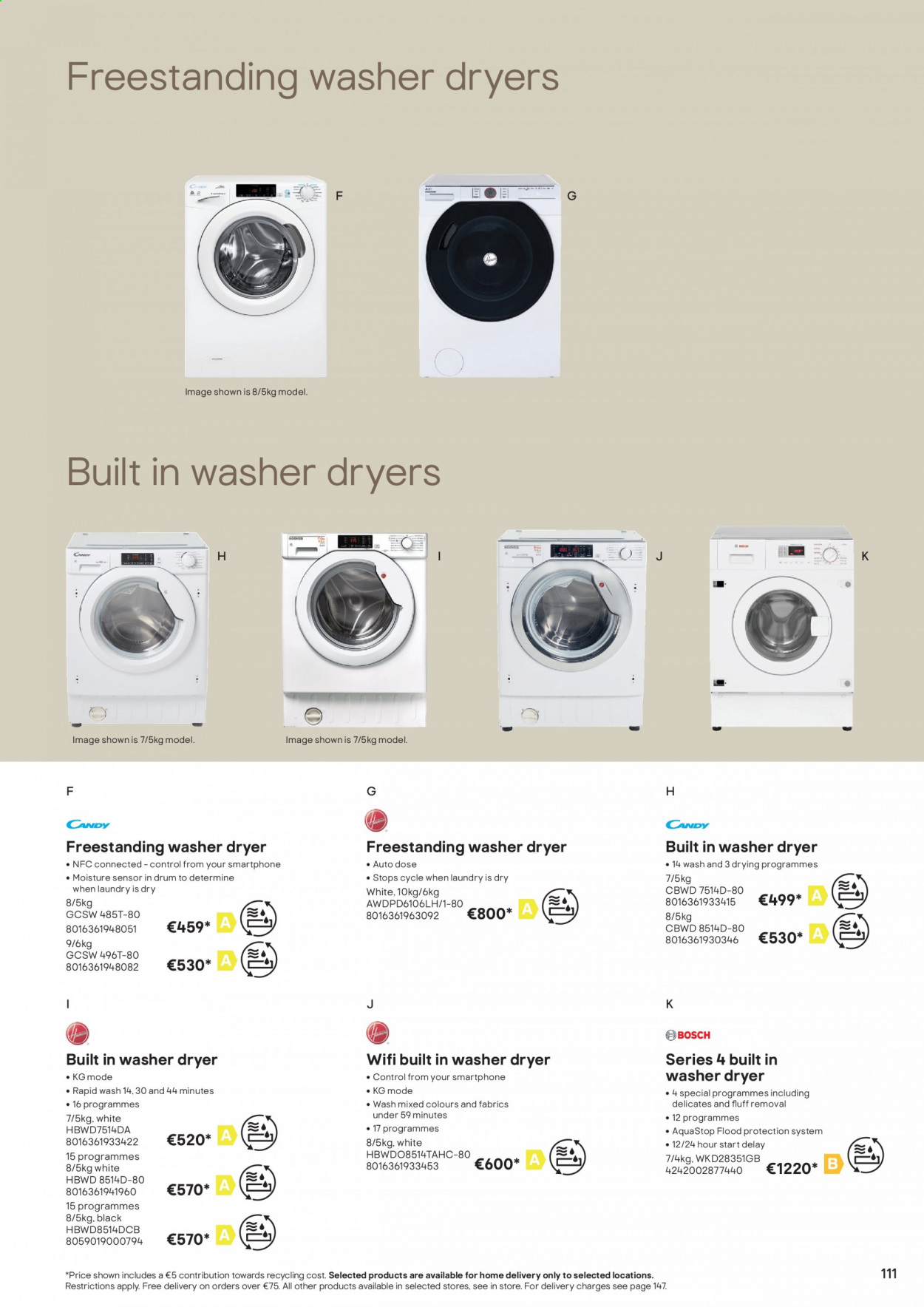B&Q offer  - Sales products - moisture, washer & dryer, wifi, smartphone. Page 111.