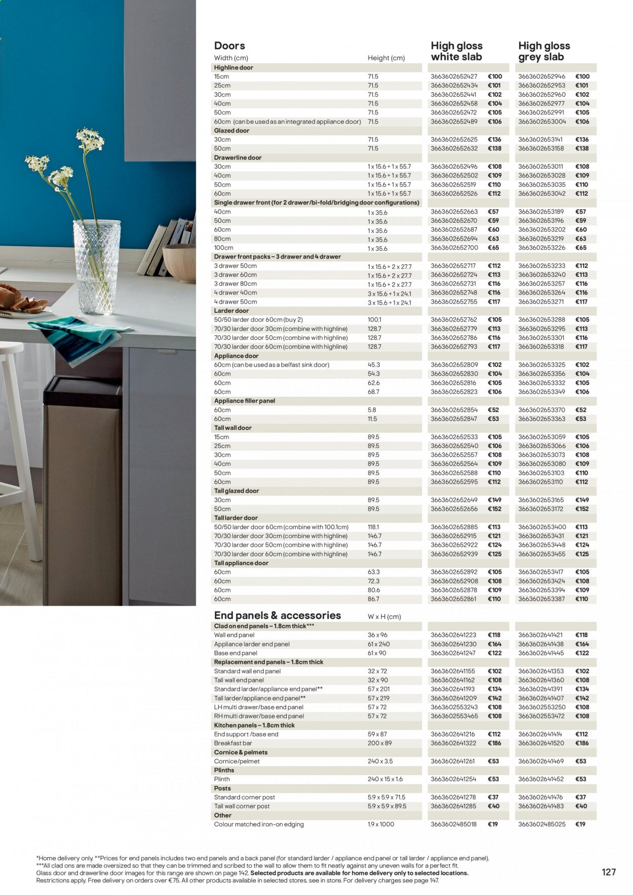 B&Q offer  - Sales products - door, drawer, glass, sink, iron, Kitchen, bar. Page 127.