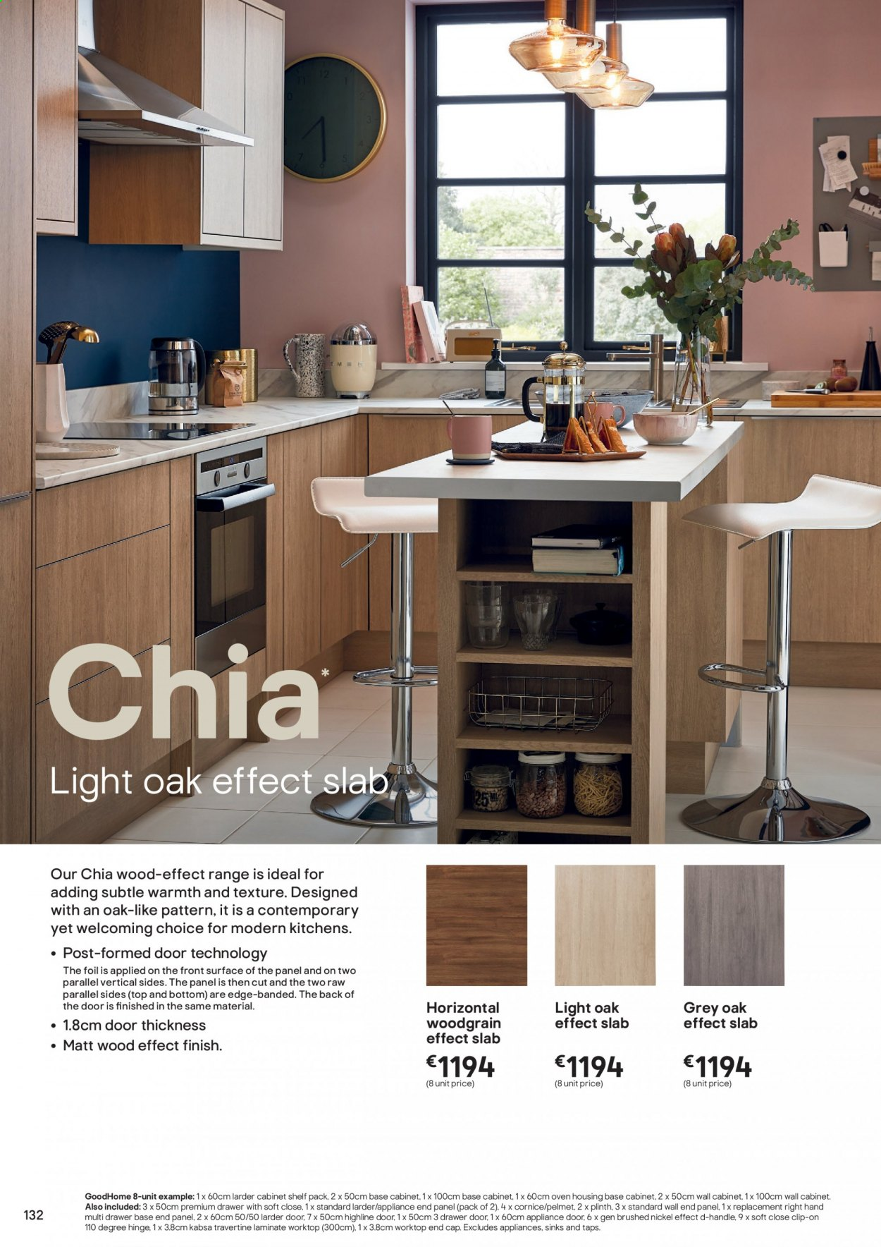 B&Q offer  - Sales products - cabinet, cap, door, drawer, shelf, surface, wall cabinet, handles, oven. Page 132.