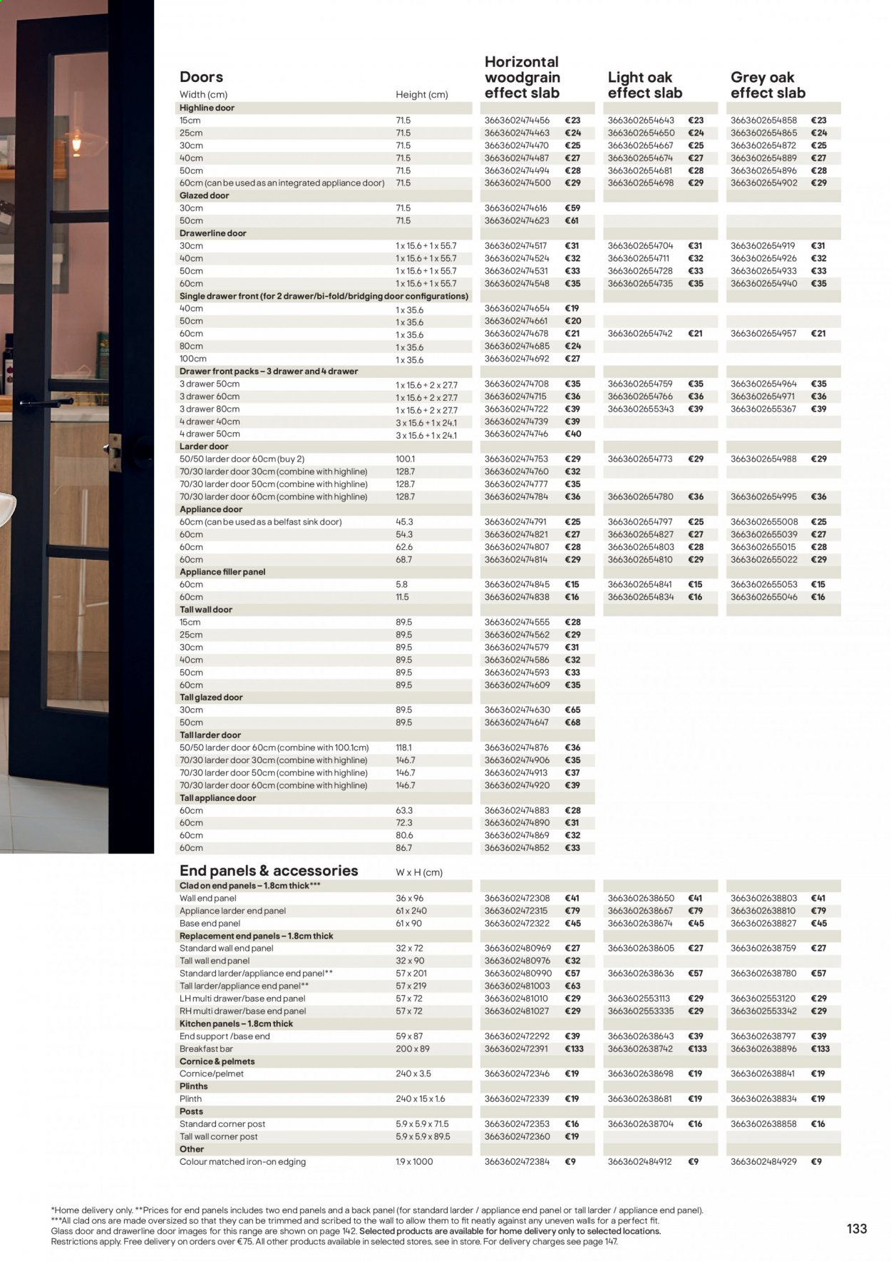 B&Q offer  - Sales products - door, drawer, glass, sink, iron, Kitchen, bar. Page 133.