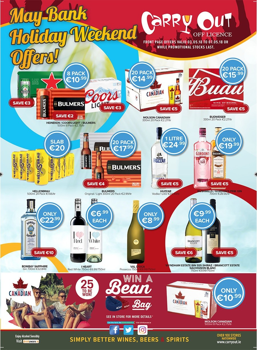 Carry Out offer  - 3.5.2018 - 7.5.2018 - Sales products - bag, bin, budweiser, gin, vodka, prosecco. Page 1.