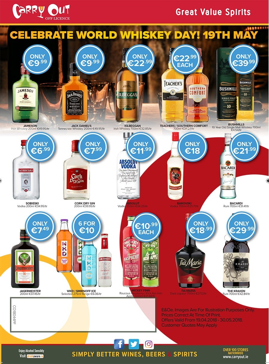 Carry Out offer  - 3.5.2018 - 7.5.2018 - Sales products - gin, liqueur, rum, smirnoff, tennessee whiskey, vodka, whiskey, jameson. Page 2.