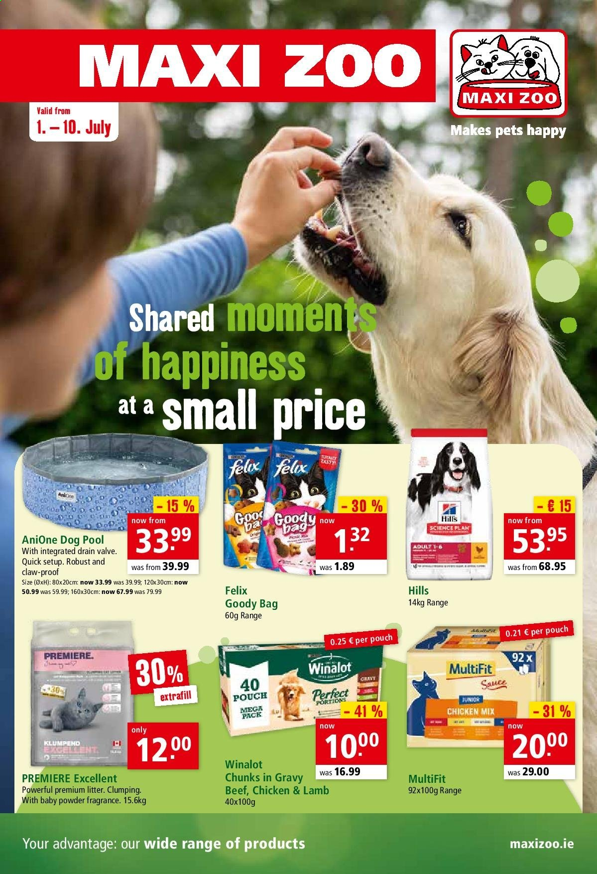 Maxi Zoo offer  - 1.7.2020 - 10.7.2020 - Sales products - bag, beef meat, fragrance, lamb meat, litter, pet, powder, quick, chicken, pool, sauce. Page 1.