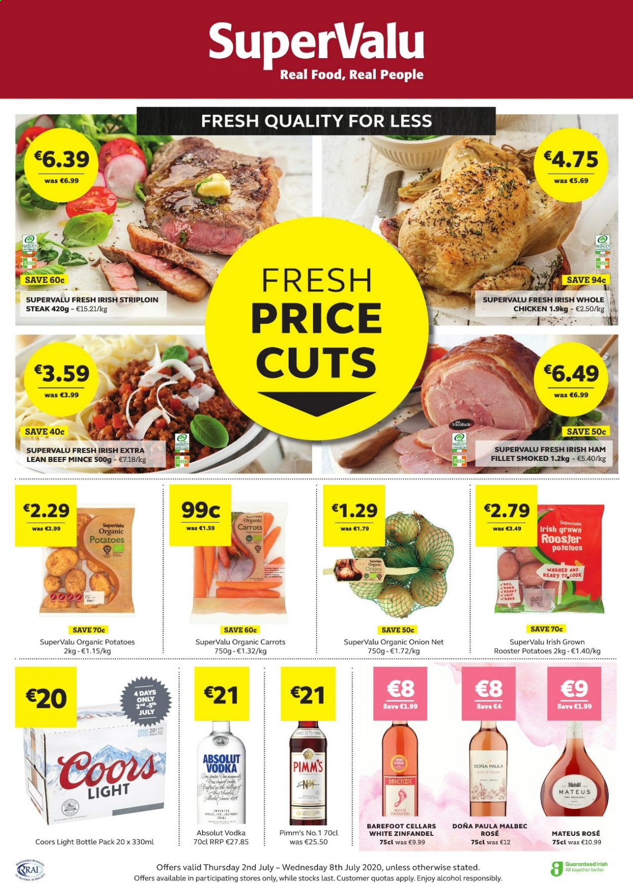 SuperValu offer  - 2.7.2020 - 8.7.2020 - Sales products - beef meat, bottle, carrots, vodka, ham, potatoes, chicken, onion, organic, steak. Page 1.